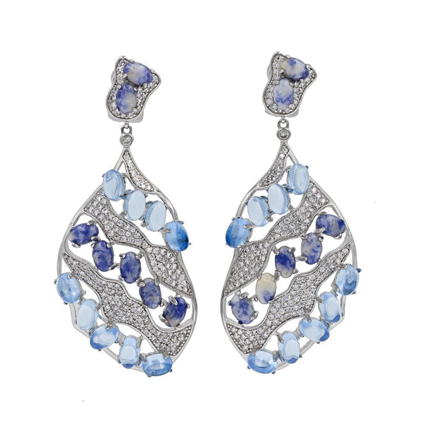 ER1929TN STERLING SILVER 925 RHODIUM PLATED SODALITE ELEGANT DROP CZ EARRINGS