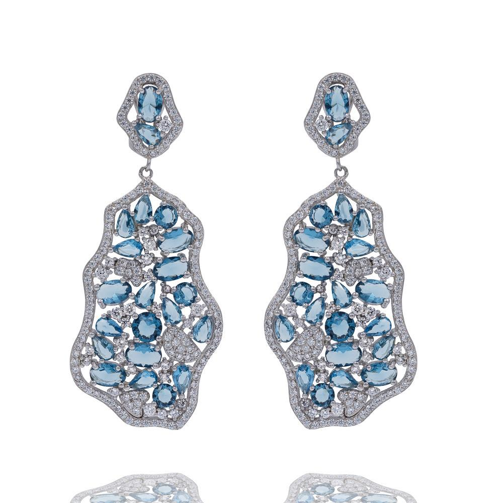 ER1941N STERLING SILVER 925 RHODIUM PLATED ELEGANT LIGHT BLUE DROP CZ EARRINGS