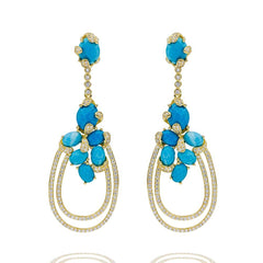 ER1942D-G STERLING SILVER 925 GOLD PLATED TURQUOISE CZ DROP EARRINGS