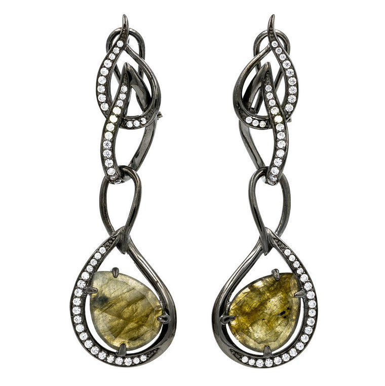 ER1945G-B STERLING SILVER 925 BLACK RHODIUM PLATED LABRADORITE DROP CZ EARRINGS