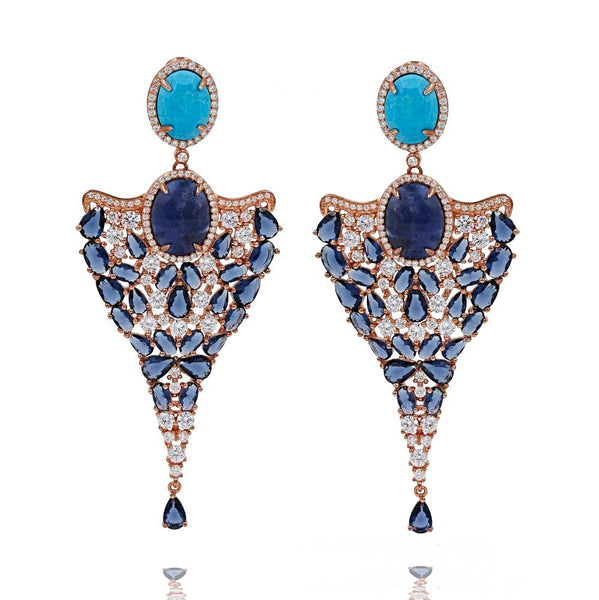 ER1953DN-R STERLING SILVER 925 ROSE GOLD PLATED FINISH TURQUOISE AND SODALITE DROP LUXURY EARRINGS