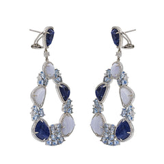 ER1955NT STERLING SILVER 925 RHODIUM PLATED FINISH SODALITE AND LACE BLUE AGATE FANCY DROP EARRINGS