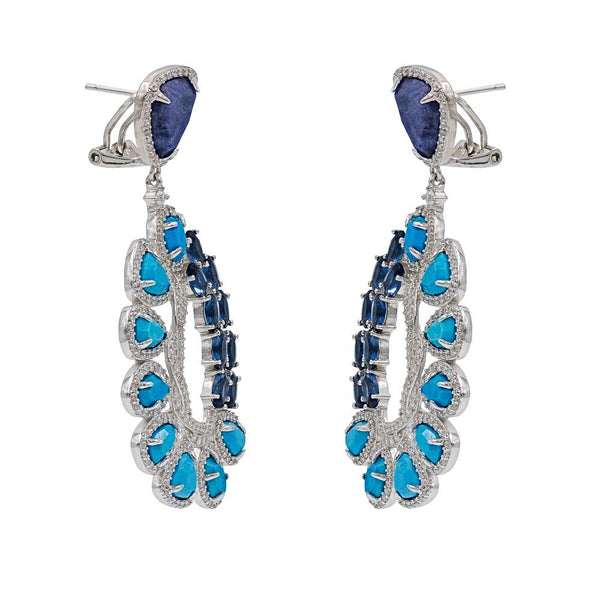 ER1956DN STERLING SILVER 925 RHODIUM PLATED FINISH SODALITE AND TURQUOISE FANCY DROP EARRINGS