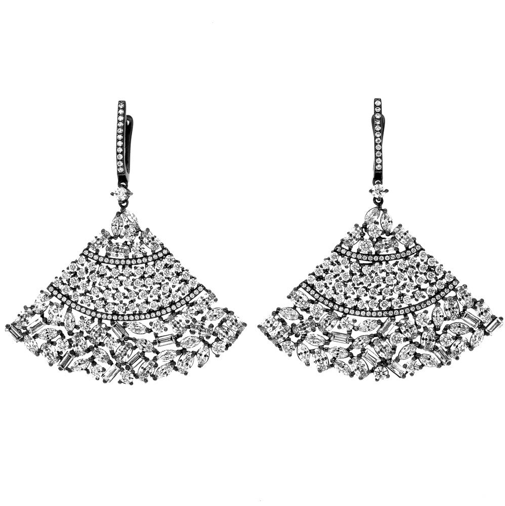 ER1957W-B  STERLING SILVER 925 ELEGANT BLACK RHODIUM DROP CZ EARRINGS