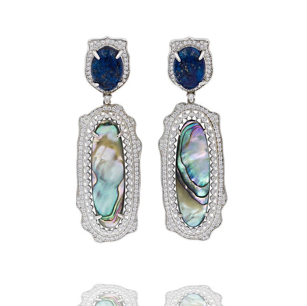 ER2011B STERLING SILVER 925 RHODIUM PLATED LAPIS LAZULI ABALONE DROP FANCY EARRINGS