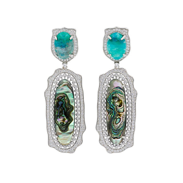 ER2011M STERLING SILVER 925 RHODIUM PLATED AMAZONITE ABALONE DROP FANCY EARRINGS