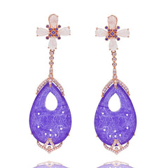 ER2013P-R STERLING SILVER 925 ROSE GOLD PLATED FINISH PURPLE JADE FANCY DROP EARRINGS