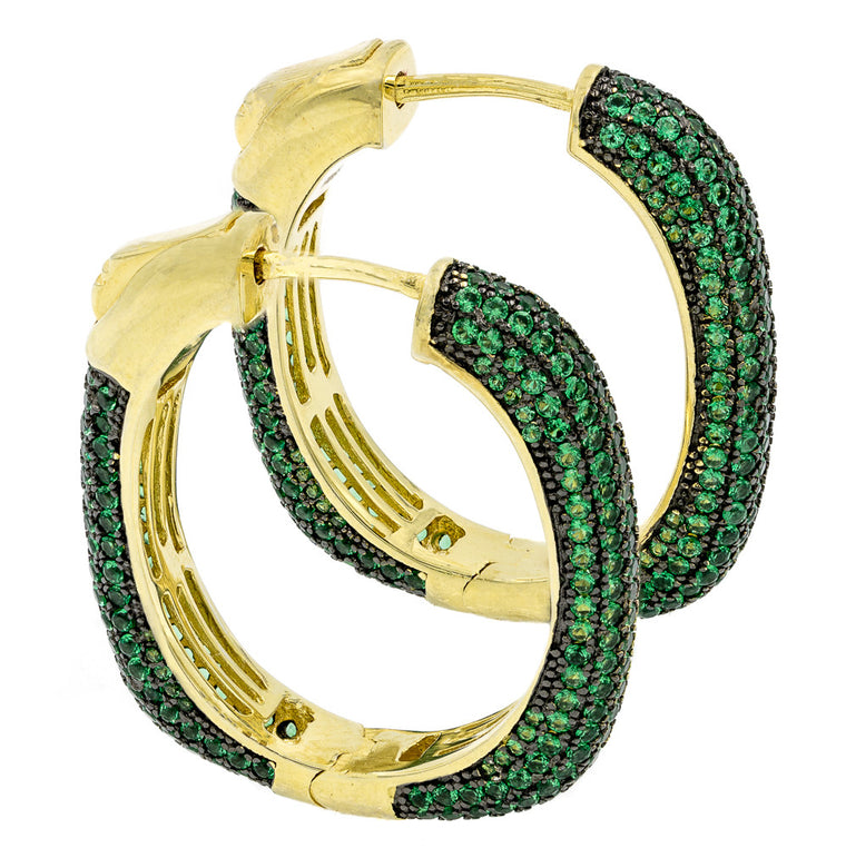 ER2047G-G STERLING SILVER 925 GOLD PLATED EMERALD COLOR PAVE CZ HOOP EARRINGS 27 MM