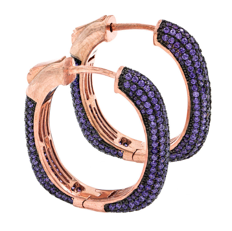 ER2047P-R  STERLING SILVER 925 ROSE GOLD PLATED AMETHYST PAVE CZ HOOP EARRINGS 27 MM