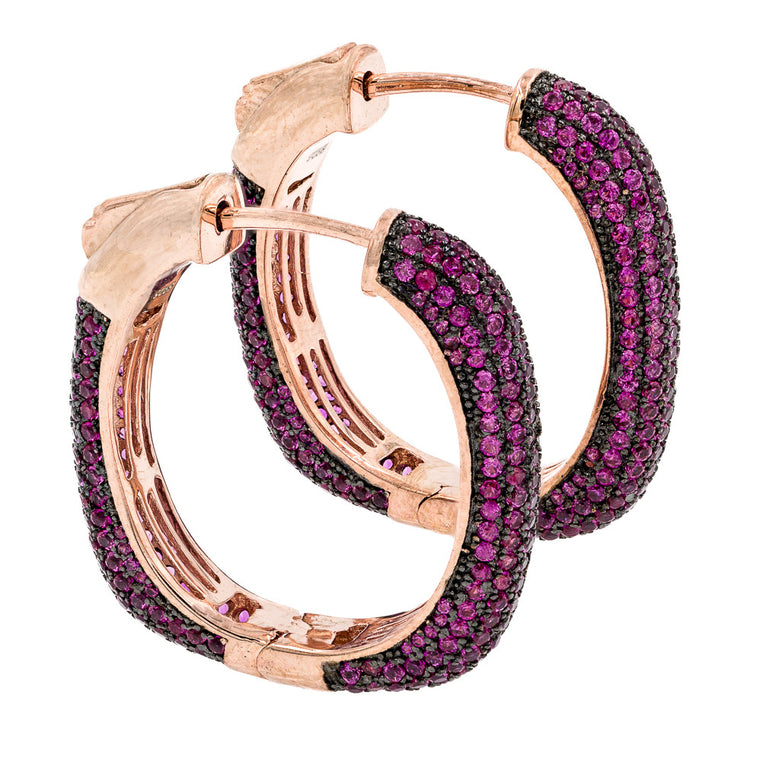 ER2047R-R  STERLING SILVER 925 ROSE GOLD PLATED RUBY PAVE CZ HOOP EARRINGS 27 MM