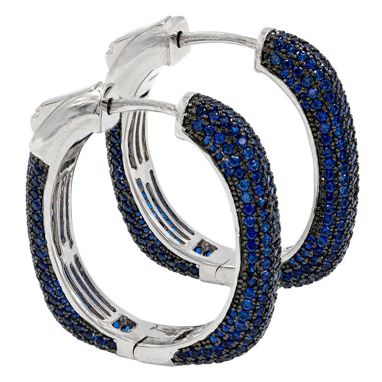 ER2047NG  STERLING SILVER 925 RHODIUM PLATED SAPPHIRE PAVE CZ HOOP EARRINGS 27 MM
