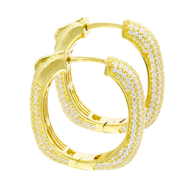 ER2047W-G STERLING SILVER 925 GOLD PLATED CLEAR PAVE CZ HOOP EARRINGS 27 MM