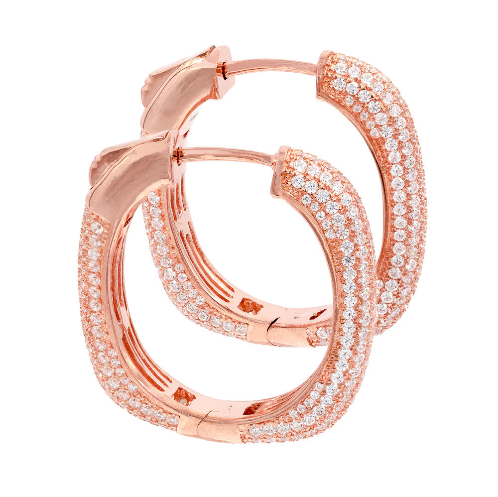 ER2047W-R STERLING SILVER 925 ROSE GOLD PLATED CLEAR PAVE CZ HOOP EARRINGS 27 MM
