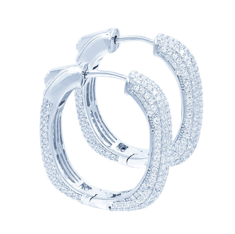 ER2047W STERLING SILVER 925 RHODIUM PLATED CLEAR PAVE CZ HOOP EARRINGS 27 MM