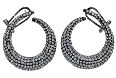 ER2058W-B STERLING SILVER 925 BLACK RHODIUM CLEAR WHITE CZ EARRINGS