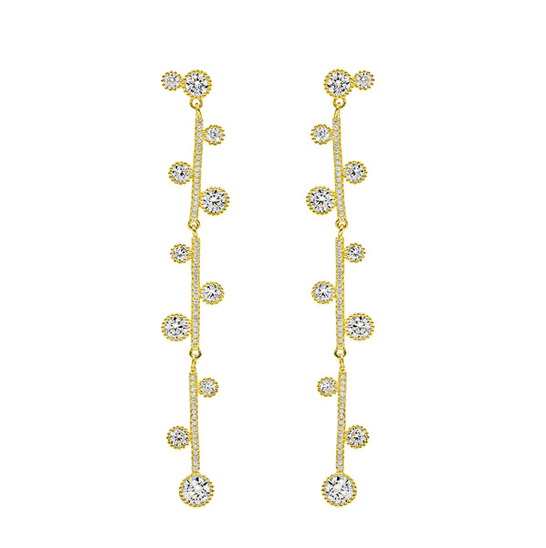 ER2074W-G STERLING SILVER 925 GOLD PLATED FINISH WHITE CZ DROP EARRINGS