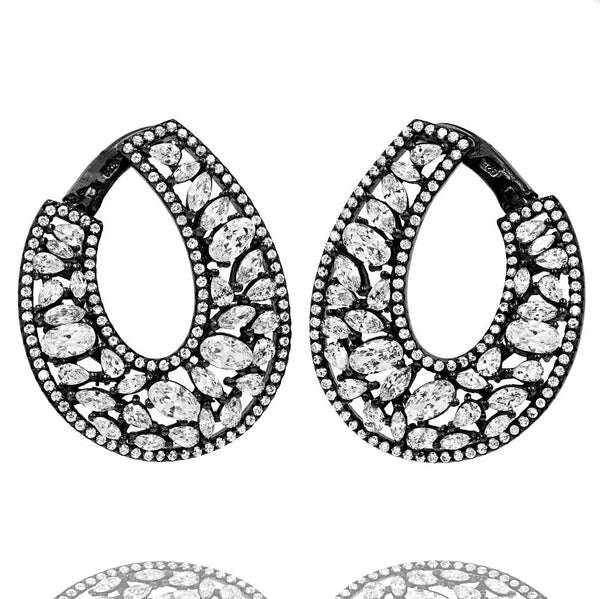 ER2101W-B STERLING SILVER 925 BLACK RHODIUM PLATED FINISH CZ FANCY DROP EARRINGS