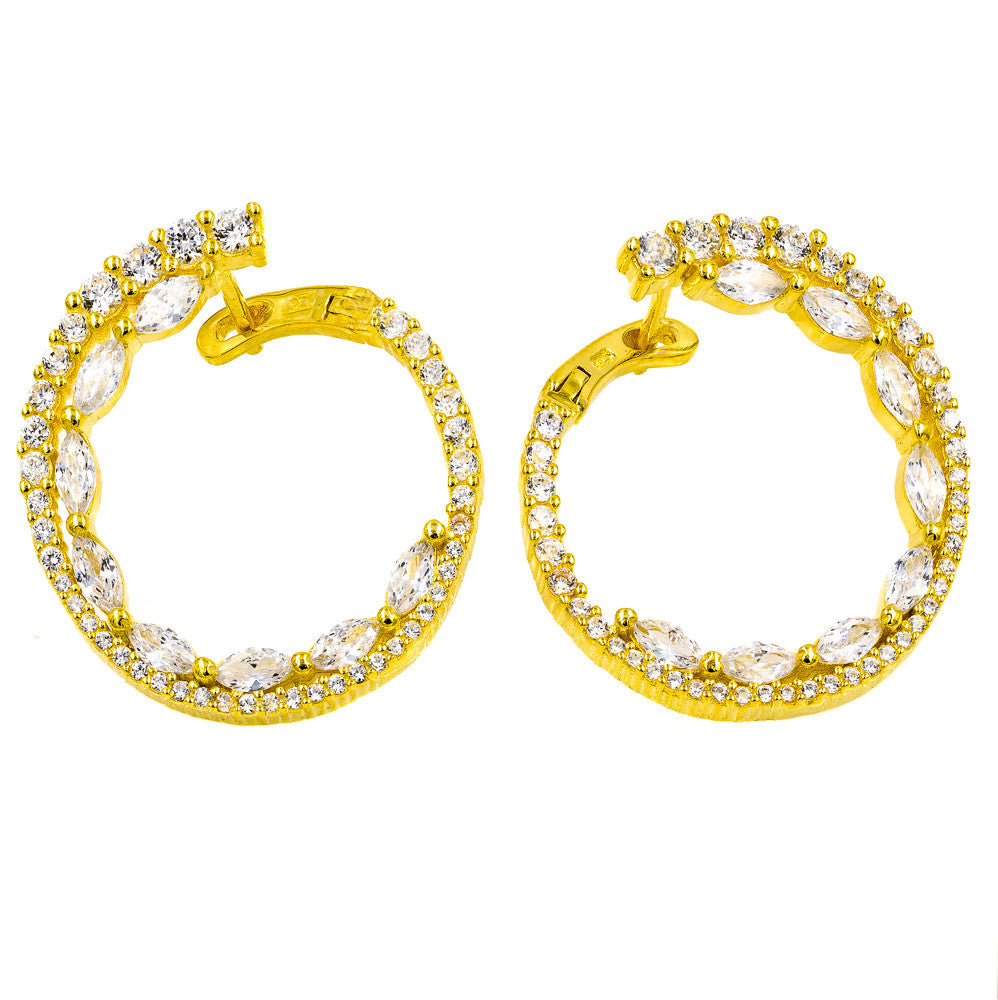 ER2104W-G  STERLING SILVER 925 GOLD PLATED WHITE CZ EARRINGS