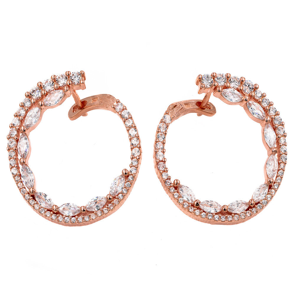 ER2104W-R  STERLING SILVER 925 ROSE GOLD PLATED WHITE CZ EARRINGS