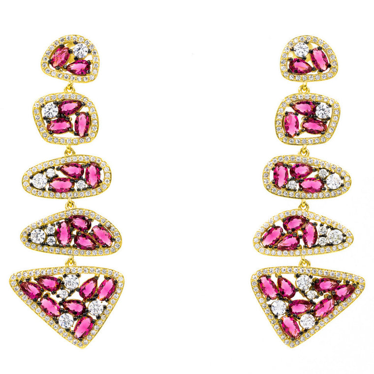 ER2123R-G STERLING SILVER 925 GOLD PLATED RUBY COLOR CZ DROP EARRINGS