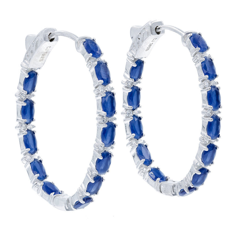 ER2136N STERLING SILVER 925 RHODIUM PLATED SAPPHIRE COLOR CZ HOOP EARRINGS 34 MM