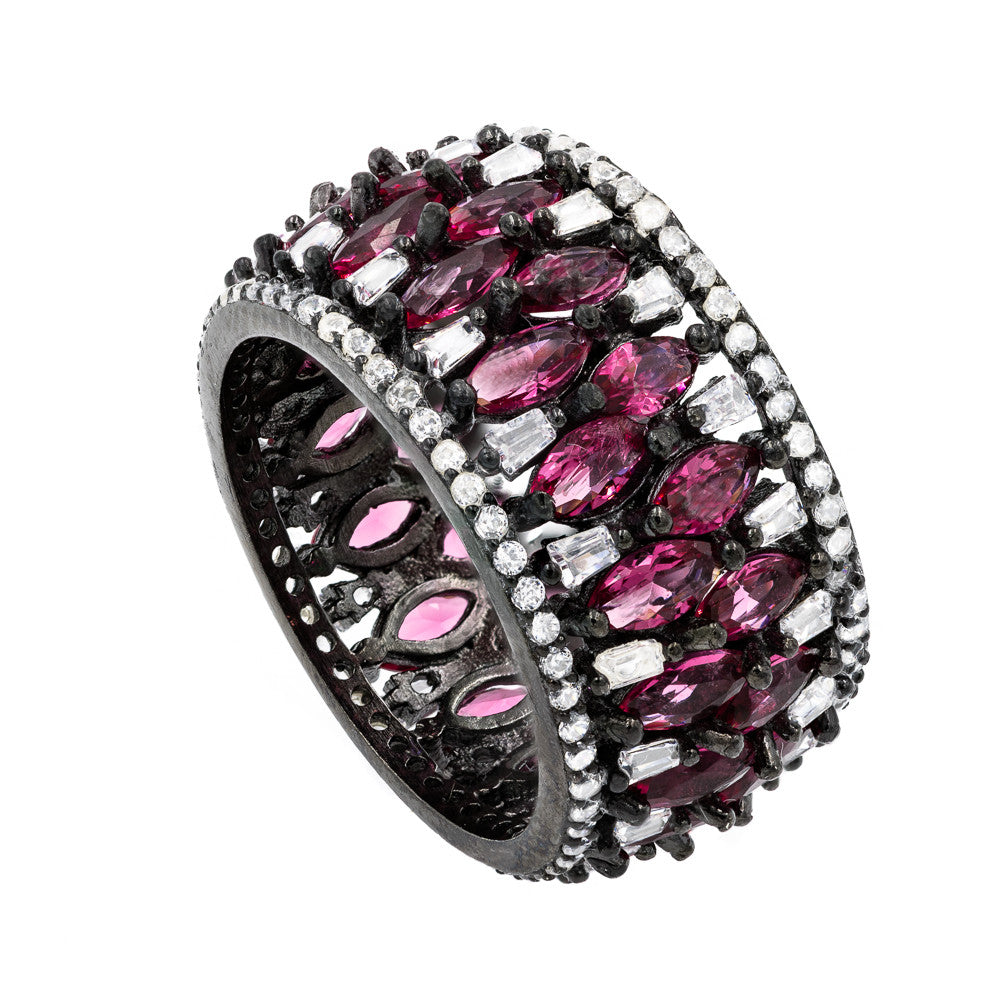 RI2143WR-B  STERLING SILVER 925 BLACK RHODIUM RUBY COLOR CZ RING