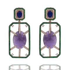 ER2151PN-R STERLING SILVER 925 ROSE GOLD PLATED AMETHYST AND LAPIS LAZULI DROP EARRINGS