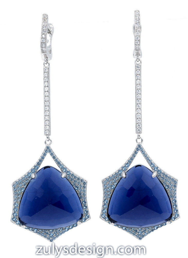 ER2152NT STERLING SILVER 925 RHODIUM PLATED BLUE CRYSTAL  DROP EARRINGS