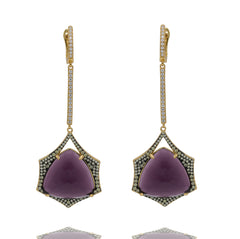 ER2152PG-G STERLING SILVER 925 GOLD PLATED FINISH AMETHYST CRYSTAL DROP EARRINGS