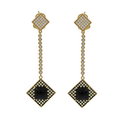 ER2153G-G STERLING SILVER 925 GOLD PLATED BLACK AGATE DROP EARRINGS