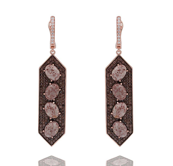 ER2154F-R STERLING SILVER 925 ROSE GOLD PLATED JASPER DROP EARRINGS