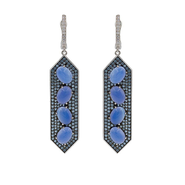 ER2154T STERLING SILVER 925 RHODIUM PLATED LAPIS LAZULI DROP EARRINGS