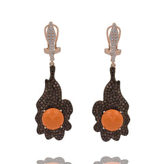 ER2157F-R STERLING SILVER 925 ROSE GOLD PLATED FINISH CORAL COLOR CRYSTAL DROP EARRINGS