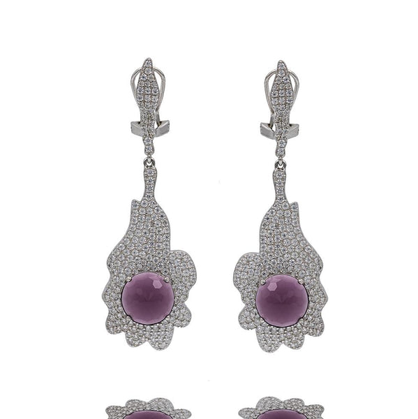 ER2157P STERLING SILVER 925 RHODIUM PLATED AMETHYST CZ COLOR  DROP EARRINGS