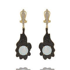 ER2157QF-R STERLING SILVER 925 GOLD PLATED FINISH OPALITE DROP EARRINGS