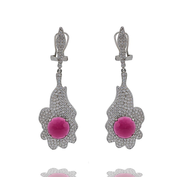 ER2157R STERLING SILVER 925 RHODIUM PLATED RUBY CZ COLOR  DROP EARRINGS