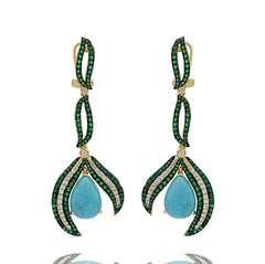 ER2158D-G STERLING SILVER 925 GOLD PLATED TURQUOISE DROP EARRINGS
