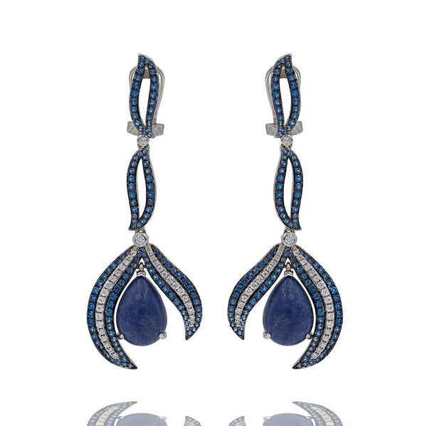 ER2158N STERLING SILVER 925 RHODIUM PLATED SODALITE DROP FANCY EARRINGS