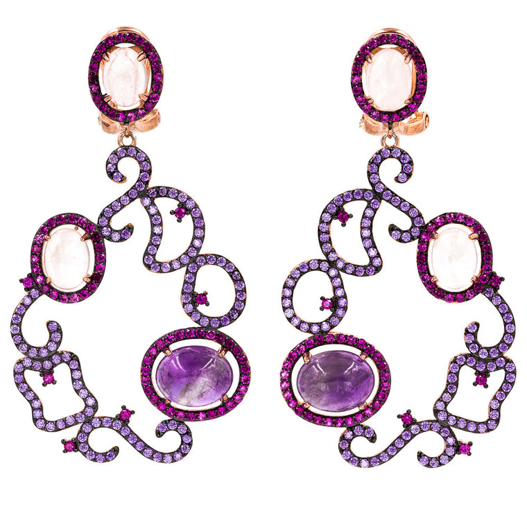 ER2161AIP-R STERLING SILVER 925 ROSE GOLD PLATED FINISH AMETHYST AND ROSE QUARTZ  FANCY DROP EARRINGS