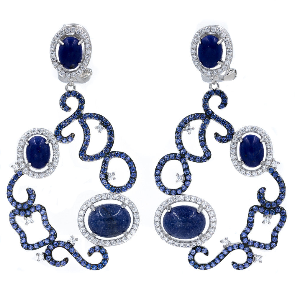 ER2161N STERLING SILVER 925 RHODIUM PLATED FINISH JADE AND LAPIS LAZULI  FANCY DROP EARRINGS