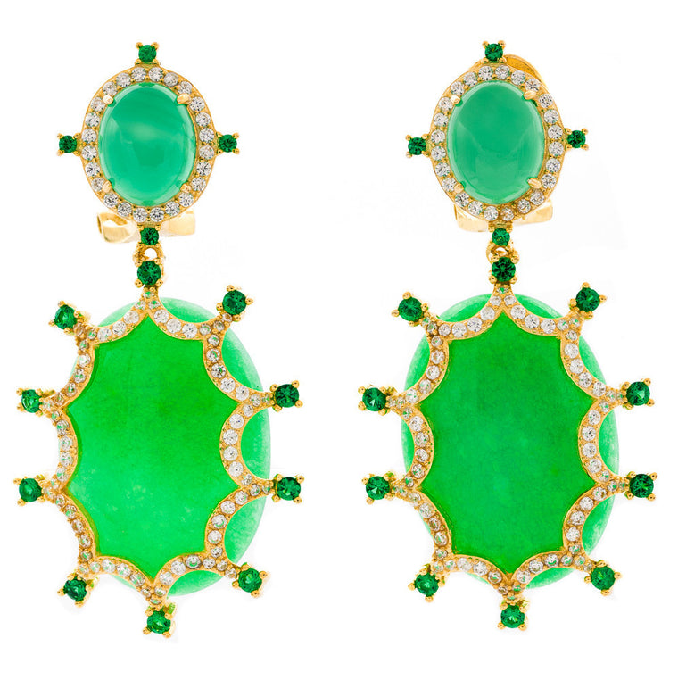 ER2165G-G STERLING SILVER 925 GOLD PLATED FINISH JADE AND AGATE FANCY DROP EARRINGS