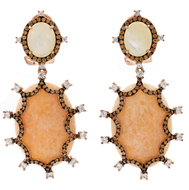 ER2165K-R STERLING SILVER 925 ROSE GOLD PLATED FINISH MOP AND PEACH AGATE FANCY DROP EARRINGS