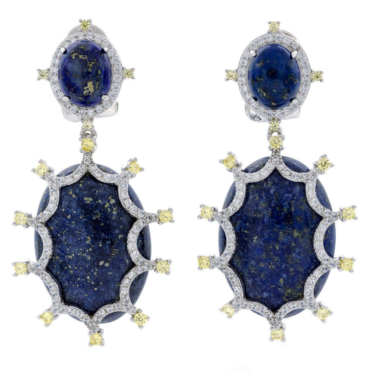 ER2165NY STERLING SILVER 925 RHODIUM PLATED FINISH LAPIS LAZULI FANCY DROP EARRINGS
