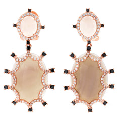 ER2165S-R STERLING SILVER 925 ROSE GOLD PLATED FINISH GRAY AGATE FANCY DROP EARRINGS