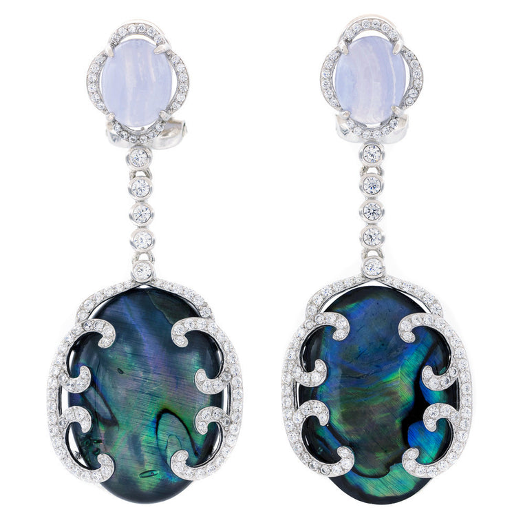 ER2166TM STERLING SILVER 925 RHODIUM PLATED FINISH BLUE LACE AGATE FANCY AND ABALONE DROP EARRINGS