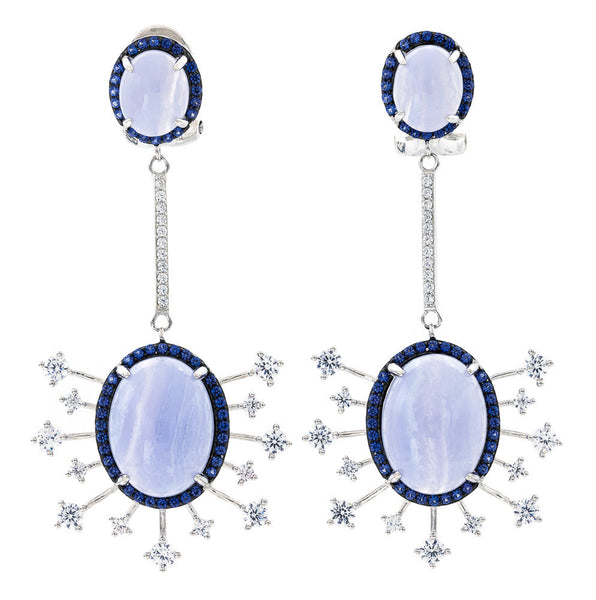 ER2167T STERLING SILVER 925 RHODIUM PLATED FINISH BLUE LACE AGATE FANCY DROP EARRINGS