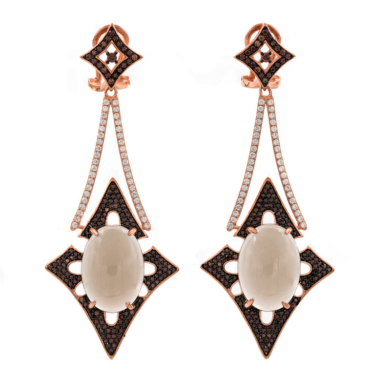 ER2168F-R STERLING SILVER 925 ROSE GOLD PLATED  SMOKY QUARTZ NATURAL STONE FANCY DROP EARRINGS
