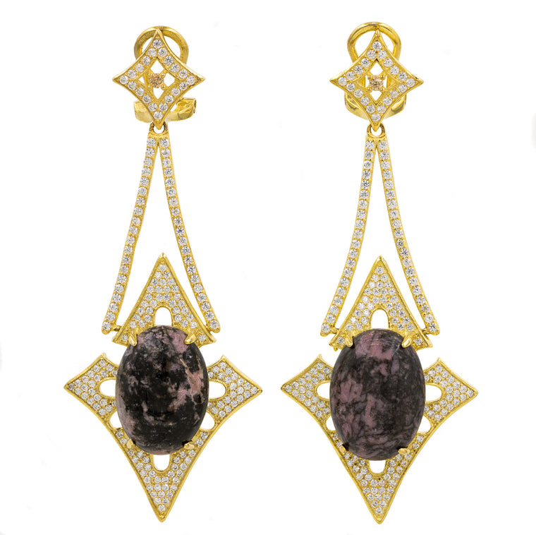ER2168I-G STERLING SILVER 925 GOLD PLATED FINISH RHODONITE NATURAL STONE FANCY DROP EARRINGS