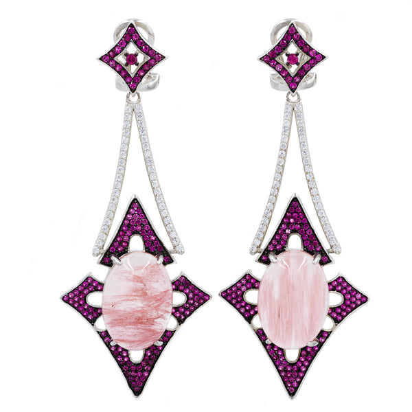 ER2168IR STERLING SILVER 925 RHODIUM PLATED FINISH CHERRY QUARTZ NATURAL STONE FANCY DROP EARRINGS