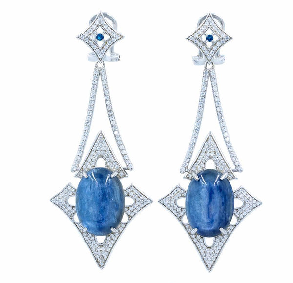ER2168N STERLING SILVER 925 RHODIUM PLATED FINISH KYANITE NATURAL STONE FANCY DROP EARRINGS